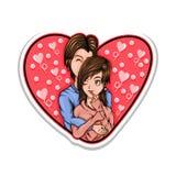 Ejemplo del vector del amor de los pares del animado stock de ilustración