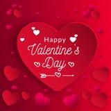 Ejemplo del vector del amor y de la inscripción feliz del día de tarjeta del día de San Valentín ilustración del vector