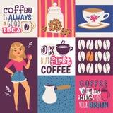 Ejemplo del vector del apego del café Amante femenino del café de la historieta linda con una taza de bebida El café es siempre u libre illustration
