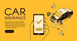 Ejemplo del vector del app del seguro de accidente de tráfico libre illustration