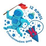 Ejemplo del vector a 12 April Cosmonautics Day Un astronauta o un cosmonauta con una bandera roja en espacio exterior y el vuelo Imagen de archivo libre de regalías