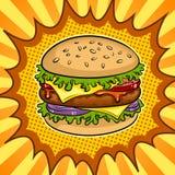 Ejemplo del vector del arte pop del bocadillo de la hamburguesa Fotos de archivo libres de regalías