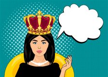 Ejemplo del vector del arte pop, colores brillantes, perno encima del estilo, mujer con una corona en su cabeza, burbuja del disc Fotos de archivo