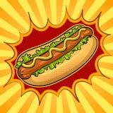 Ejemplo del vector del arte pop del perrito caliente Fotos de archivo