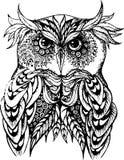 Ejemplo del vector del búho en blanco y negro stock de ilustración
