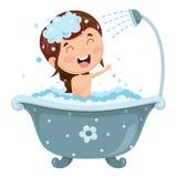 Ejemplo del vector del baño del niño stock de ilustración