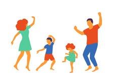 Ejemplo del vector del baile feliz de la familia, diseño plano libre illustration