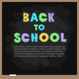Ejemplo del vector del blackbourd de la escuela con las letras De nuevo a modelo de la escuela Imágenes de archivo libres de regalías