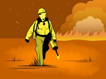 Ejemplo del vector del bombero del yermo ilustración del vector