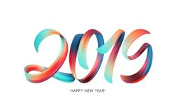 Ejemplo del vector: Caligrafía colorida de las letras de la pintura de la pincelada de 2019 Felices Año Nuevo en el fondo blanco imagenes de archivo