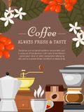 Ejemplo del vector del cartel de la cafetería Café de la mañana Café orgánico Siempre fresco y natural Equipo de Barista tales libre illustration