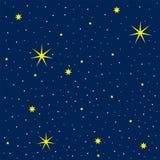 Ejemplo del vector del cielo cósmico con muchas estrellas brillantes stock de ilustración