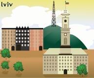 Ejemplo del vector, ciudad de Lviv, Fotografía de archivo libre de regalías