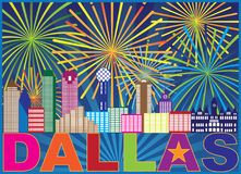 Ejemplo del vector del color de Dallas Skyline Lone Star Fireworks libre illustration