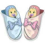 Ejemplo del vector con dos bebés, el muchacho y la muchacha libre illustration