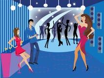 Danza-club-y-barra ilustración del vector