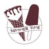 Ejemplo del vector con el cono de helado, polo de hielo stock de ilustración