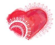 Ejemplo del vector con el corazón y los ornamentos Stock de ilustración