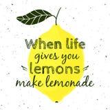 Ejemplo del vector con el limón y la cita de motivación Foto de archivo libre de regalías