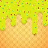 Ejemplo del vector con helado y la oblea Imagen de archivo