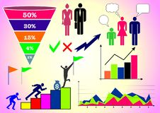 Ejemplo del vector con infographics: gente, negocio, finanzas, gráficos y cartas, y diversas figuras stock de ilustración