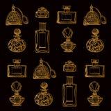 Ejemplo del vector con la botella de perfume del oro Foto de archivo libre de regalías