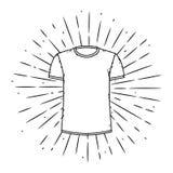 Ejemplo del vector con la camiseta y los rayos divergentes Utilizado para el cartel, bandera, web, impresión de la camiseta, impr Imagen de archivo