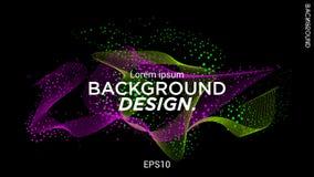 Ejemplo del vector con las ondas musicales de puntos Diseño moderno con los elementos dinámicos Onda de part?culas EPS 10 stock de ilustración