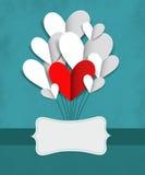 Ejemplo del vector con los corazones de papel Foto de archivo libre de regalías