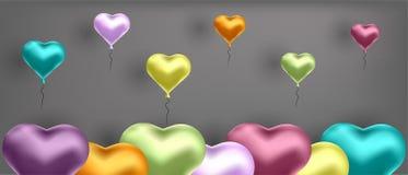 Ejemplo del vector con los globos coloridos en la forma del corazón Fondo para las postales, carteles ilustración del vector