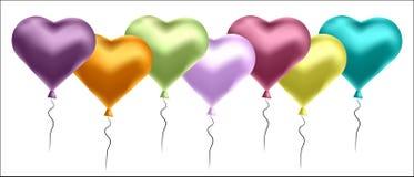 Ejemplo del vector con los globos coloridos en la forma del corazón Fondo para las postales, carteles libre illustration