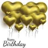 Ejemplo del vector con los globos del oro en la forma del corazón Fondo para las postales, carteles ilustración del vector