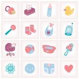 Ejemplo del vector con los iconos del bebé Fotografía de archivo