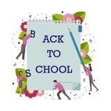 Ejemplo del vector con los pequeños hombres para la escuela 1 de septiembre stock de ilustración