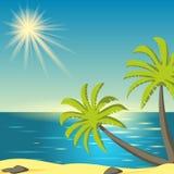 Ejemplo del vector con puesta del sol del mar stock de ilustración