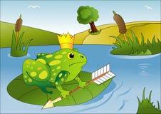 Ejemplo del vector con un príncipe de la rana Imagen de archivo libre de regalías