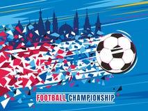 Ejemplo del vector del concepto del campeonato del fútbol Balón de fútbol del vuelo con el rastro y los edificios