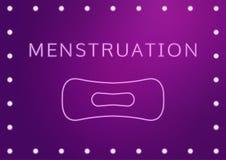 Ejemplo del vector del concepto de la salud de las mujeres, menstruación del texto y un cojín en el stylization de neón Días crít stock de ilustración