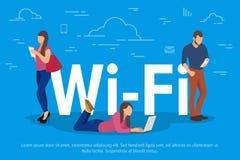 Ejemplo del vector del concepto del Wi-Fi Gente que usa los dispositivos para el funcionamiento remoto y el crecimiento profesion ilustración del vector