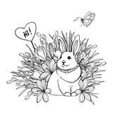 Ejemplo del vector del conejito lindo en ramas de las flores del verba y del azafrán Tarjeta de felicitación Página antiesfuerza  ilustración del vector