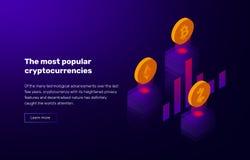 Ejemplo del vector del cryptocurrency popular Bandera con el grado del bitcoin y de los altcoins stock de ilustración