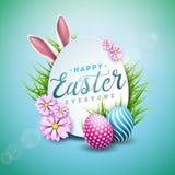 Ejemplo del vector del día de fiesta feliz de Pascua con el huevo, los oídos de conejo y la flor pintados en fondo azul brillante