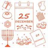 Ejemplo del vector: Día de fiesta judío Jánuca: calendario, regalos, d