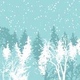 Ejemplo del vector del día de fiesta de la decoración de Navidad del bosque del invierno de la tarjeta de Navidad Fondo de saludo ilustración del vector