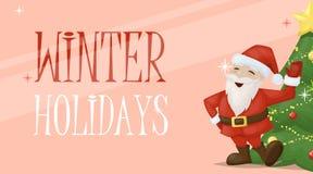 Ejemplo del vector del día de fiesta de la decoración del saludo de Navidad de santa de la tarjeta de Navidad stock de ilustración