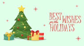 Ejemplo del vector del día de fiesta de la decoración del saludo de Navidad de la tarjeta de Navidad libre illustration