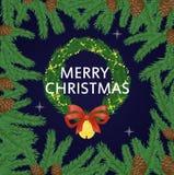 Ejemplo del vector del día de fiesta de la decoración del saludo de Navidad de la tarjeta de Navidad stock de ilustración