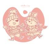 Ejemplo del vector del día de tarjetas del día de San Valentín Los caracteres se emparejan del patinaje lindo de los osos ilustración del vector