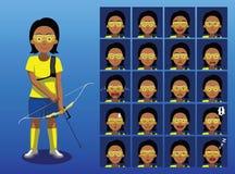 Ejemplo del vector de Archer Cartoon Emotion Faces del brasileño Foto de archivo libre de regalías