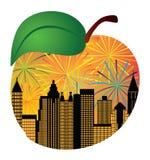 Ejemplo del vector de Atlanta Georgia Skyline Fireworks Inside Peach ilustración del vector